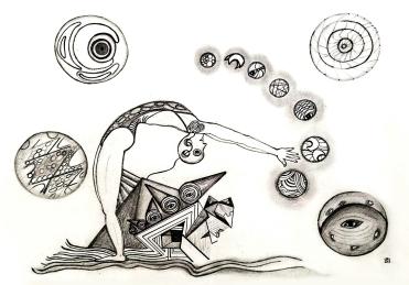 """""""La contorsión simbólica"""" [the symbolic contortion] -- Virgína T. Santos"""
